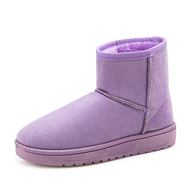 Mujer Tacón PU Fucsia nieve Botas Invierno Botas Zapatos Marrón Dedo Rosa 05333061 Plano Paseo de Confort redondo FrxCwfFzq