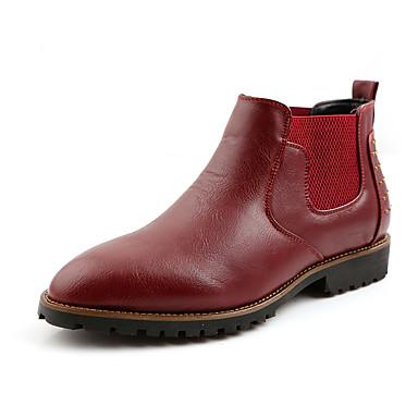 Bootsit-Tasapohja-Miesten-PU-Musta Ruskea Punainen-Rento-Comfort