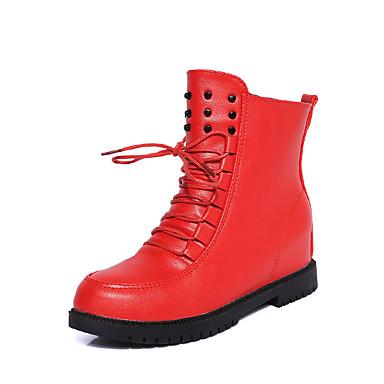 Dames Laarzen Herfst Winter Comfortabel Modieuze laarzen PU Casual Platte hak Veters Zwart Rood Wit Overige