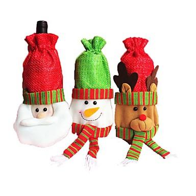 3pcsのクリスマスワインボトルワインボトルワインボトル赤ワイン赤ワイン赤ワインクリスマスの飾り(スタイルランダム)