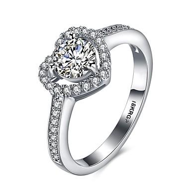 女性 指輪 婚約指輪 ぜいたく 幸福 恋 銅 ゴールドメッキ イミテーションダイヤモンド ジュエリー 結婚式 パーティー 婚約 日常 カジュアル