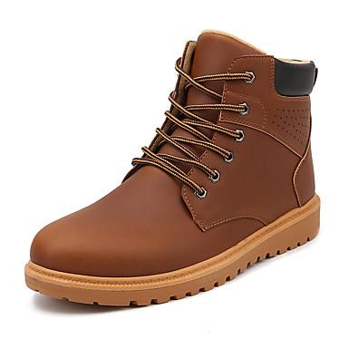 メンズ 靴 PUレザー 春 夏 秋 冬 コンフォートシューズ ファッションブーツ ブーツ 用途 カジュアル ブラック Brown ダークブラウン