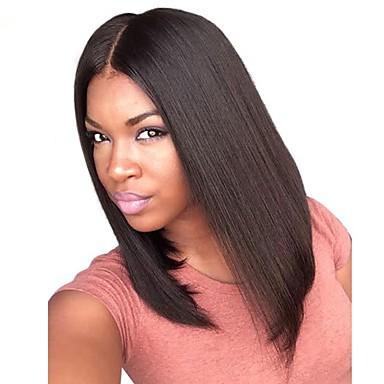 Remy haar Kanten Voorkant Pruik Recht Yaki 130% 150% 180% Dichtheid 100% handgebonden Afro-Amerikaanse pruik Natuurlijke haarlijn Kort