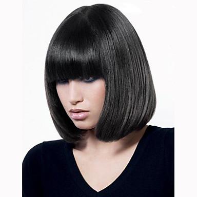 Ihmisen hiukset Capless Peruukit Aidot hiukset Suora Classic Korkealaatuinen Peruukki Päivittäin