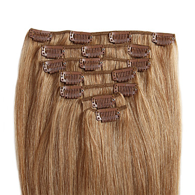voordelige Extensions van echt haar-Febay Clip-in Extensions van echt haar Recht Echt haar Medium Brown / Bleached Blonde