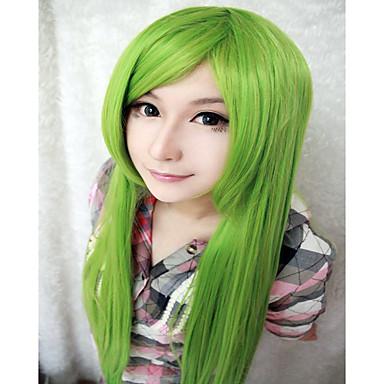 Syntetiske parykker / Kostumeparykker Lige Syntetisk hår Grøn Paryk Dame Meget lang Lågløs