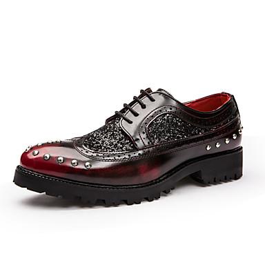 Miesten kengät Nahka Talvi Syksy Oxford-kengät Glitterillä Solmittavat varten Kausaliteetti Musta Burgundi
