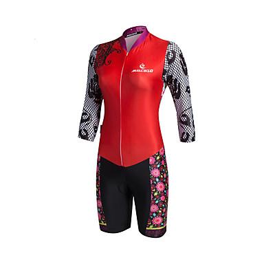 Malciklo ショーツ付きサイクリングジャージー 女性用 長袖 バイク コンプレッションウェア トライアスロン 洋服セット 冬 サイクルウェア 速乾性 フロントファスナー 耐久性 高通気性 (>15,001g) 高通気性 保護 滑らか 低摩擦 超軽量生地 3Dパッド