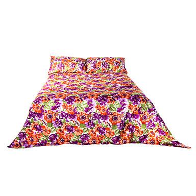 花柄 布団カバーセット 4個 ポリエステル パターン 反応染料 ポリエステル クィーン 幅224 x 長さ234cm 2×枕カバー / 1×フラットシーツ / 1×フィットシート