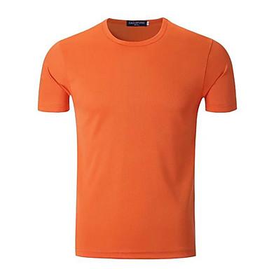 男性用 ランニングTシャツ 半袖 速乾性 高通気性 Tシャツ トップス のために エクササイズ&フィットネス サイクリング/バイク ランニング ポリエステル スリム ホワイト オレンジ イエロー ネービーブルー フルーツグリーン M L XL XXL XXXL