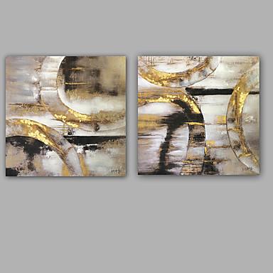 Maalattu Abstrakti öljymaalauksia,Moderni / Classic 2 paneeli Kanvas Hang-Painted öljymaalaus For Kodinsisustus