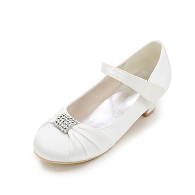 Para Meninas sapatos Seda Primavera Verão Outono Saltos Pedrarias para Casamento Festas & Noite Prateado Vermelho Azul Champanhe Ivory