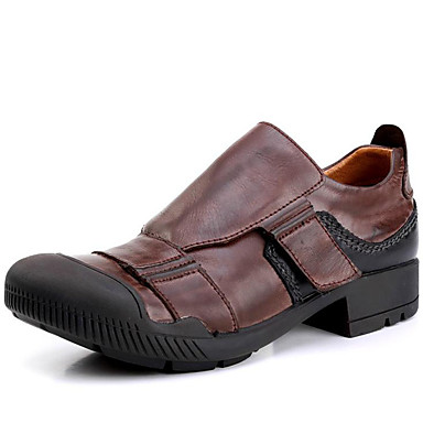 Miehet kengät Nappanahka Kevät Kesä Syksy Talvi Comfort Oxford-kengät Käyttötarkoitus Kausaliteetti Juhlat Tumman ruskea
