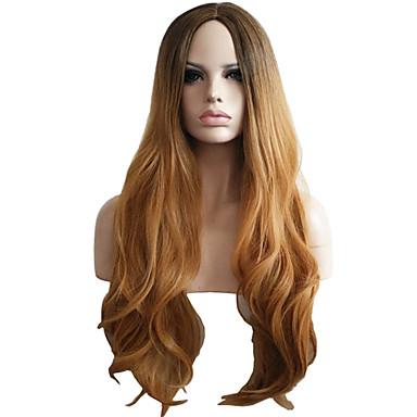 女性 人工毛ウィッグ キャップレス ウェーブ ベージュ バング付き ナチュラルウィッグ ハロウィンウィッグ カーニバルウィッグ コスチュームウィッグ
