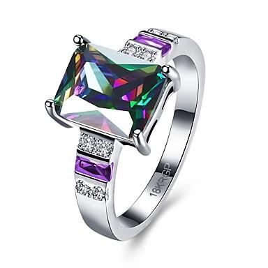 女性 指輪 婚約指輪 ぜいたく シンプルなスタイル 多色 ジルコン キュービックジルコニア 銅 方形 幾何学形 ジュエリー 結婚式 パーティー 日常 カジュアル