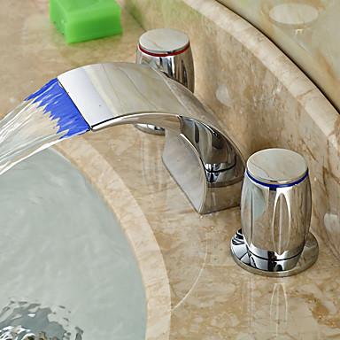 アールデコ調/レトロ風 組み合わせ式 滝状吐水タイプ LED セラミックバルブ 二つのハンドル三穴 クロム, バスルームのシンクの蛇口