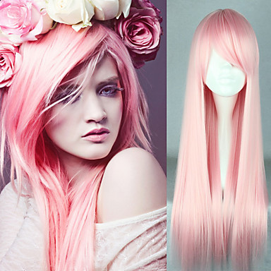 Buy 80cm Long Straight Synthetic Lolita Pink Wig Girls Heat Resistant Cosplay Daily Cheap