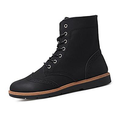 Herre-PU-Flat hæl-Komfort-Støvler-Fritid-Svart Hvit