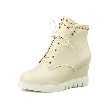 Dame-PU-Kilehæl-Komfort-Støvler-Kontor og arbeid Formell Fritid-Blå Rosa Hvit Beige