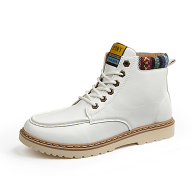 Miehet kengät Tekonahka Kevät Kesä Syksy Talvi Comfort Muotisaappaat Bootsit Käyttötarkoitus Kausaliteetti Valkoinen Musta Ruskea