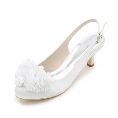 Mujer Zapatos Seda Primavera / Verano Tacones Tacón Stiletto Dedo redondo Flor Azul / Champaña / Marfil / Boda / Fiesta y Noche