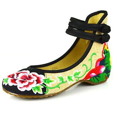 Mulheres Sapatos Tecido Primavera / Verão Conforto / Alpargata Rasos Caminhada Sem Salto Ponta Redonda Presilha / Flor Preto / Vermelho /