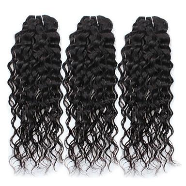 baratos Extensões de Cabelo Natural-Cabelo Peruviano Onda de Água 8A Não processado Cabelo Natural Tramas de cabelo humano Extensões de cabelo humano / Ondas Leves