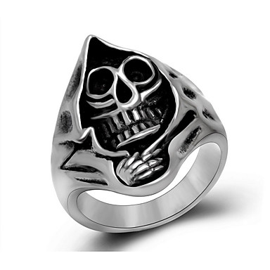 男性用 指輪 彫刻 チタン鋼 スカル フラワー ジュエリー 日常 カジュアル