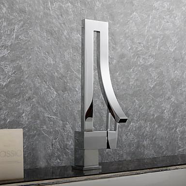 Grifo de bañera - Moderno / Modern Cromo Conjunto Central Válvula Cerámica / Sola manija Un agujero