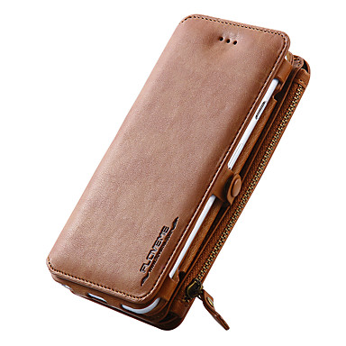 Funda Para Apple iPhone X / iPhone 8 / iPhone 7 Cartera / Soporte de Coche / con Soporte Funda de Cuerpo Entero Un Color Dura piel genuina para iPhone X / iPhone 8 Plus / iPhone 8