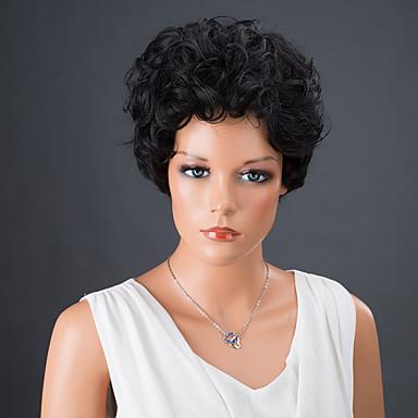 Synteettiset hiukset Peruukit Kihara Suojuksettomat Luonnollinen peruukki Musta