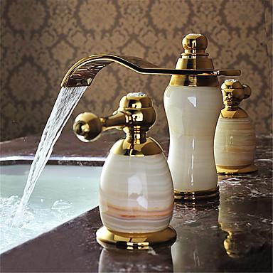 معاصر واسع الأنتشار شلال صمام سيراميكي مقبضين ثلاثة ثقوب Ti-PVD, بالوعة الحمام الحنفية