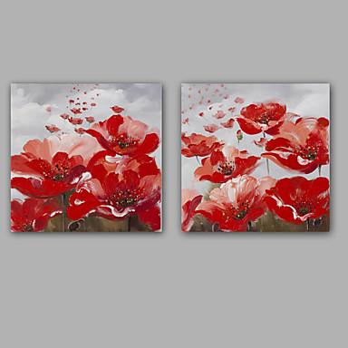 Maalattu Abstrakti Kukkakuvio/Kasvitiede Klassinen Moderni Kanvas Hang-Painted öljymaalaus Kodinsisustus 2 paneeli