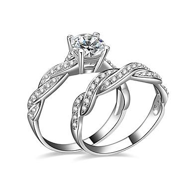 Dame Kubisk Zirkonium Parringer / Forlovelsesring - Sølvplett Kjærlighed 6 / 7 / 8 Sølv Til Bryllup / Fest / Engasjement
