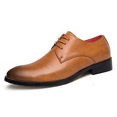 Miehet kengät PU Kevät Syksy Comfort Oxford-kengät Solmittavat Käyttötarkoitus Kausaliteetti Musta Tumman ruskea Khaki