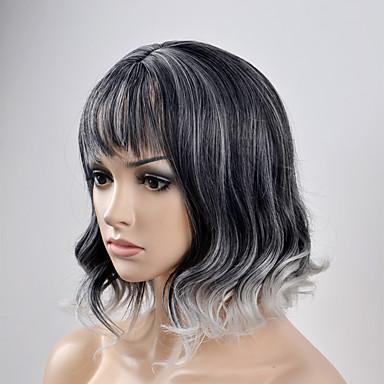 الاصطناعية الباروكات تمويج طبيعي شعر مستعار صناعي أسود شعر مستعار للمرأة قصير دون غطاء أسود