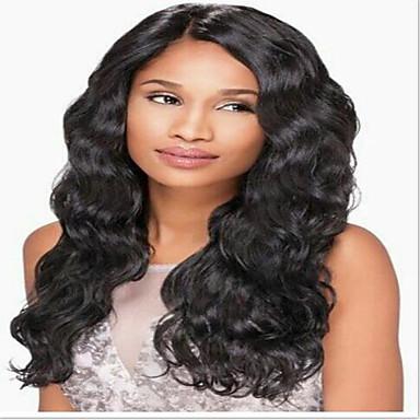 レミーヘア フロントレース かつら ウェーブ 130% 150% 密度 100%手作業縫い付け ブラックアメリカン風ウィッグ ナチュラルヘアライン ミディアム ロング 女性用 人毛レースウィッグ
