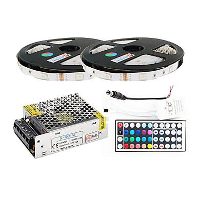 ZDM® 2x5M Leuchtbänder RGB 2*150 LEDs 1 44Tastenfernbedienung / 1 x 5A Netzteil / 1 Gleichstromkabel RGB Schneidbar / Selbstklebend /
