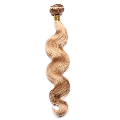 billige Fargede hairextensions-1 pakke Indisk hår Krop Bølge Klassisk 8A Ekte hår Fargede Hår Bølget Hårvever med menneskehår Hairextensions med menneskehår