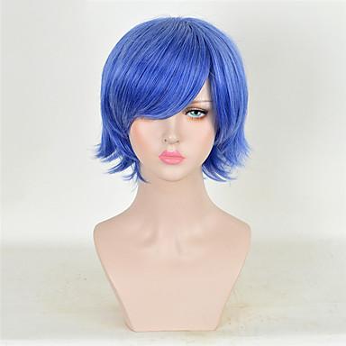Synteettiset hiukset Peruukit Kihara Carnival Peruukki Halloween Peruukki Cosplay-peruukki Lyhyt Sininen
