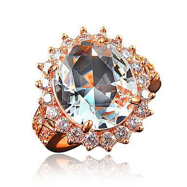 女性用 指輪 キュービックジルコニア ゴールドメッキ 18Kゴールド コスチュームジュエリー 結婚式 パーティー 日常 カジュアル