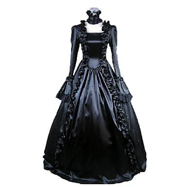 Viktorianisch Mittelalterlich Kostüm Damen Kleid Party Kostüme Maskerade Schwarz Vintage Cosplay Satin Langarm Gedicht Normallänge Ballkleid