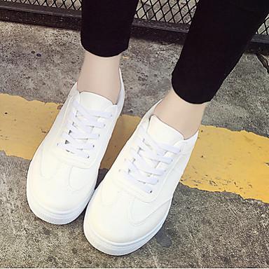 Dame-Semsket lærKomfort-Sneakers-Fritid-Hvit