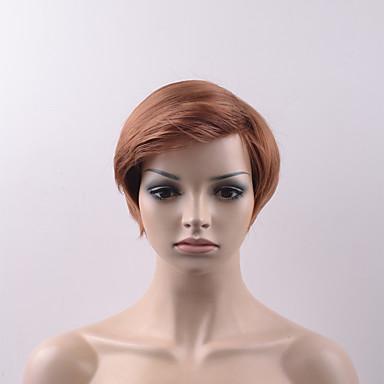 Synteettiset peruukit Suora Otsatukalla Synteettiset hiukset Peruukki Naisten Lyhyt Suojuksettomat