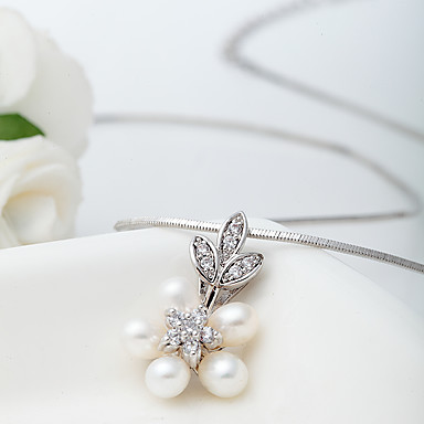 女性 ペンダントネックレス 真珠 ジルコン かわいいスタイル 欧米の ホワイト ジュエリー 結婚式 パーティー Halloween 日常 カジュアル 1個