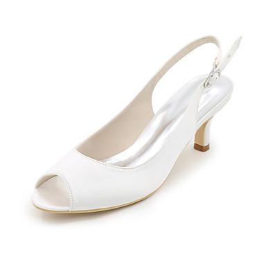 女性用 靴 シルク 春 夏 ヒール スティレットヒール オープントゥ/ピープトウ のために 結婚式 パーティー レッド ブルー ピンク ライトブラウン クリスタル