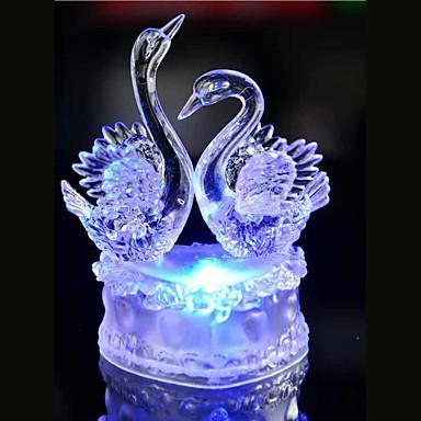 ledクリスタル2白鳥のカラフルな装飾の雰囲気のランプノベルティ照明ライト