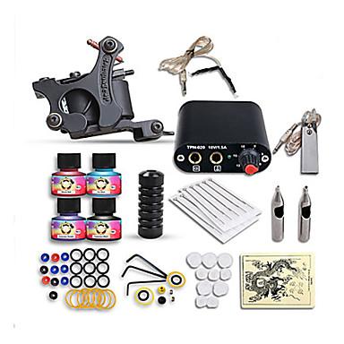 Tätowiermaschine Beginner Set 1 x Gusseisen-Tattoomaschine für Umrißlinien und Schattierung Mini Stromversorgung 1 x Legierungsgriff 10