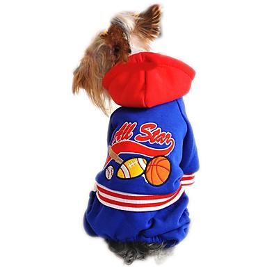 Gato Cachorro Camisola com Capuz Macacão Roupas para Cães Desenho Animado Vermelho Azul Algodão Ocasiões Especiais Para animais de