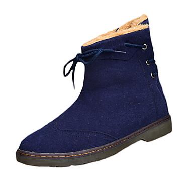 Miehet Bootsit Comfort PU Kevät Syksy Kausaliteetti Comfort Solmittavat Tasapohja Musta Sininen Tumman ruskea Tasapohja